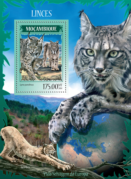 Lynxes - Issue of Mozambique postage Stamps