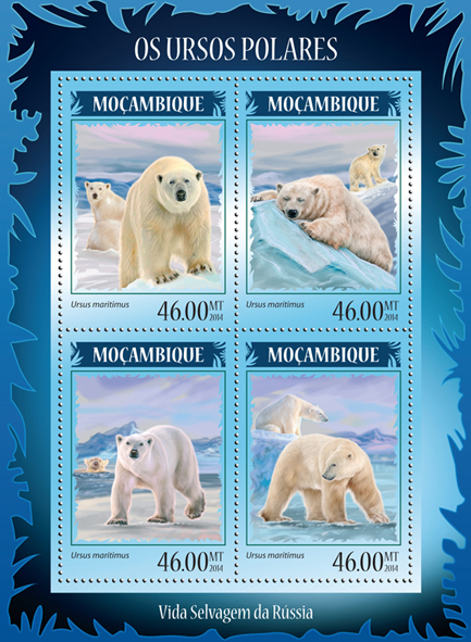 Polar bears - Issue of Mozambique postage Stamps