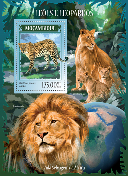 Lions and leopards - Issue of Mozambique postage Stamps