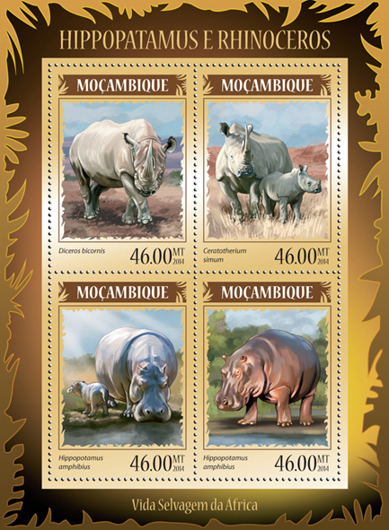 Hippopotamus and rhinoceros - Issue of Mozambique postage Stamps