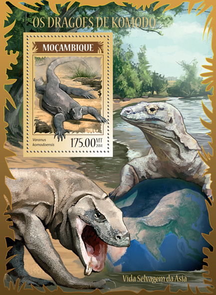 Komodo dragon - Issue of Mozambique postage Stamps