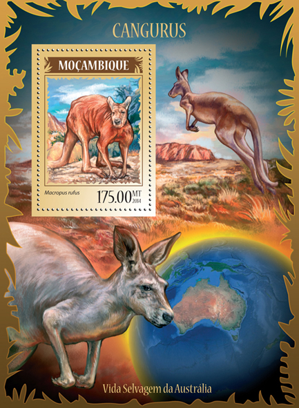 Kangaroos - Issue of Mozambique postage Stamps