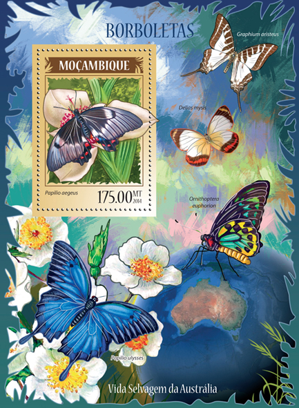 Butterflies II - Issue of Mozambique postage Stamps
