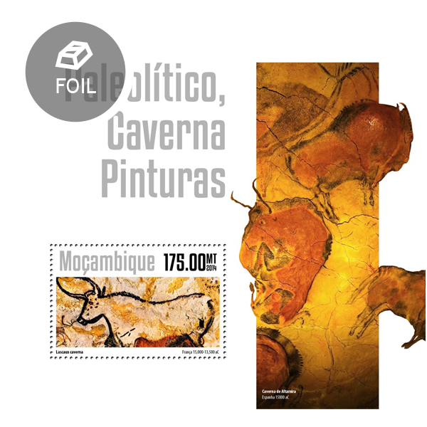Paleolithic cave paintings - Issue of Mozambique postage Stamps