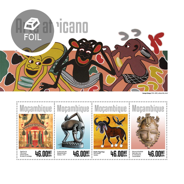 African art  - Issue of Mozambique postage Stamps