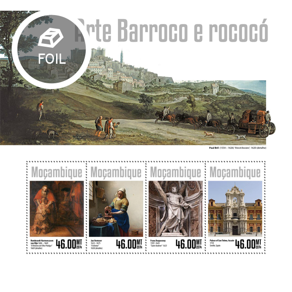 Baroque and Rococo art - Issue of Mozambique postage Stamps