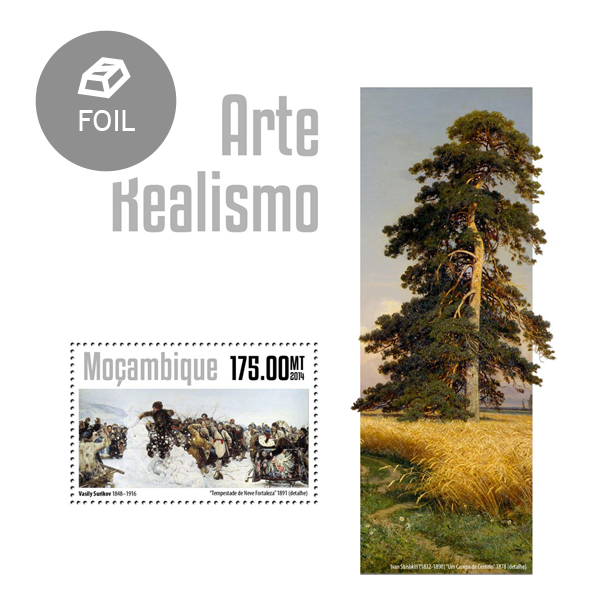 Realism art - Issue of Mozambique postage Stamps