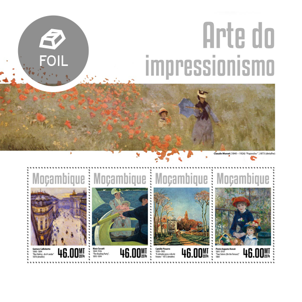 Impressionism art - Issue of Mozambique postage Stamps