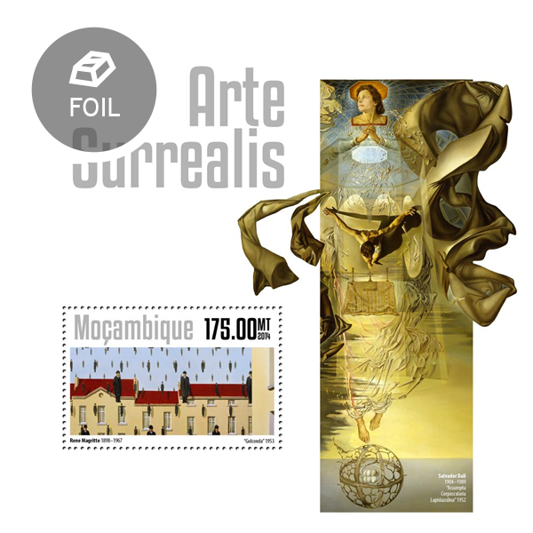 Surrealism art - Issue of Mozambique postage Stamps