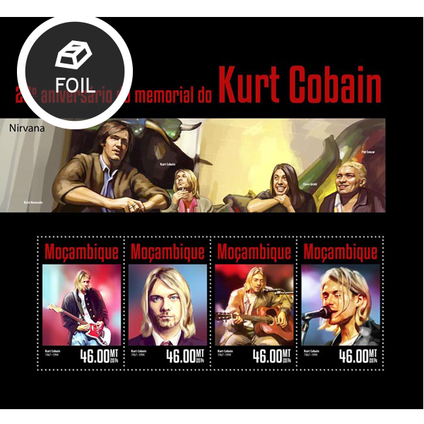 Kurt Cobain  - Issue of Mozambique postage Stamps