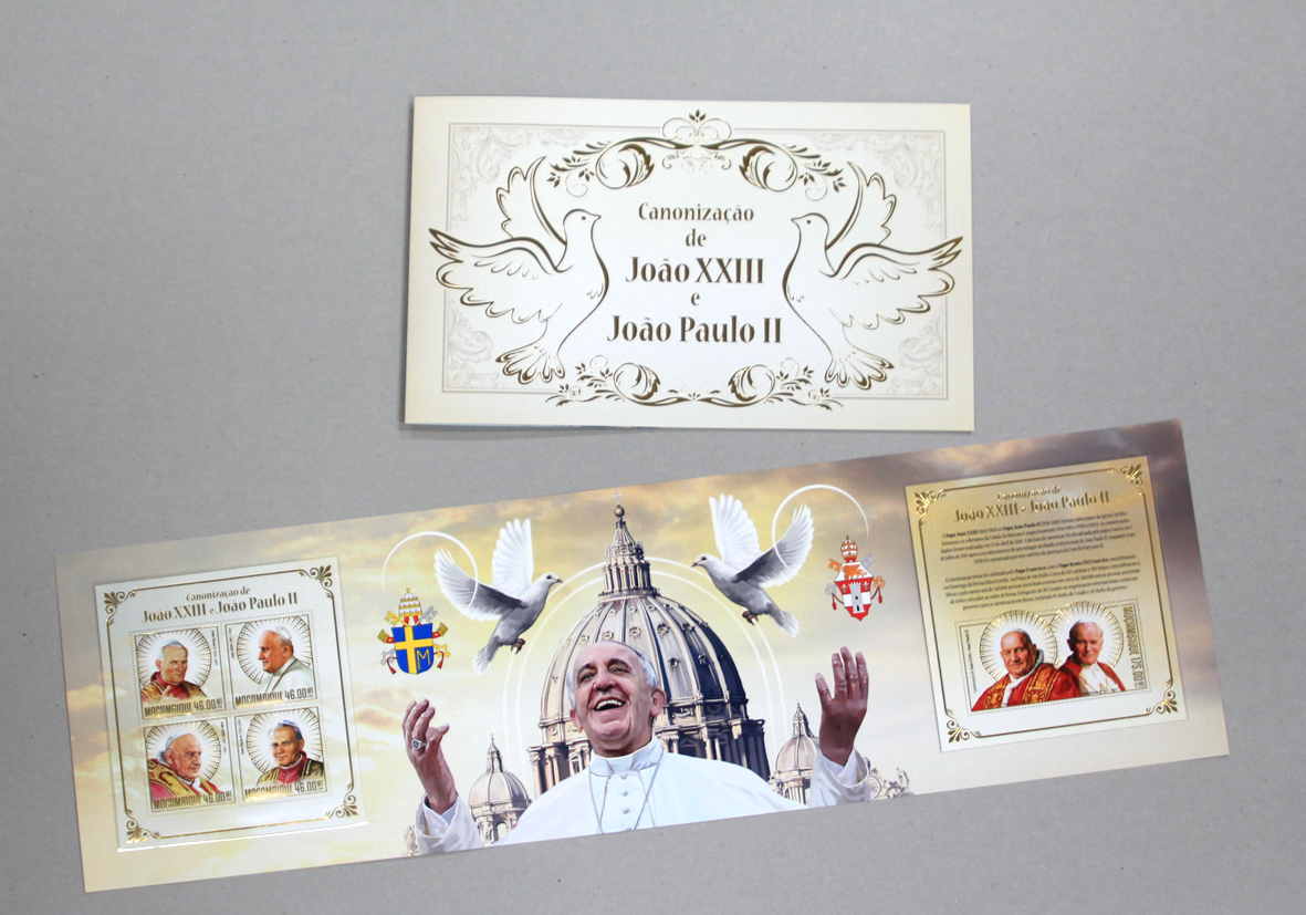 Booklet – Canonisation of John Paul II and John XXIII - Issue of Mozambique postage Stamps