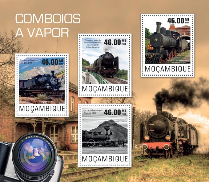 Steam trains - Issue of Mozambique postage Stamps