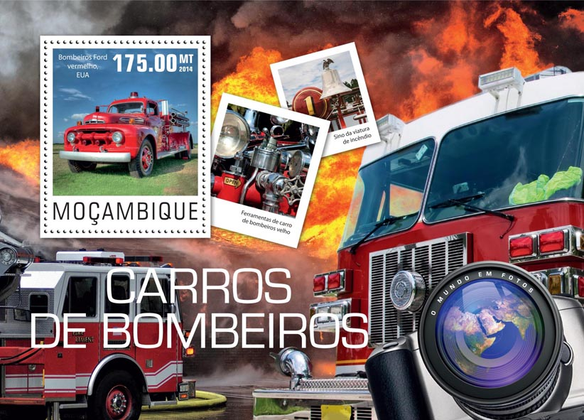 Fire engines - Issue of Mozambique postage Stamps