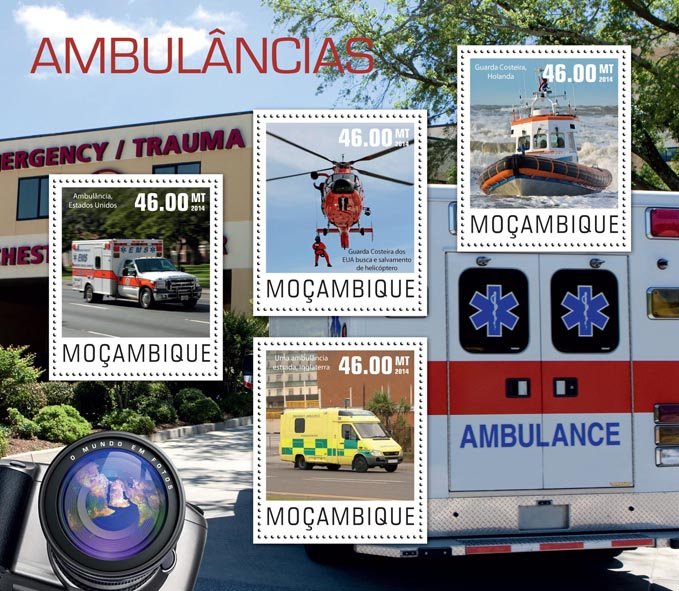 Ambulances - Issue of Mozambique postage Stamps