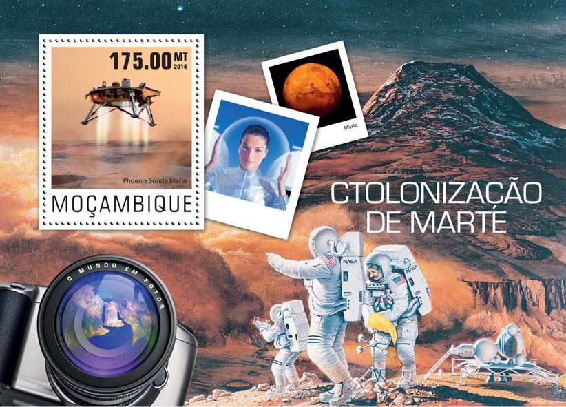 Colonisation of Mars - Issue of Mozambique postage Stamps