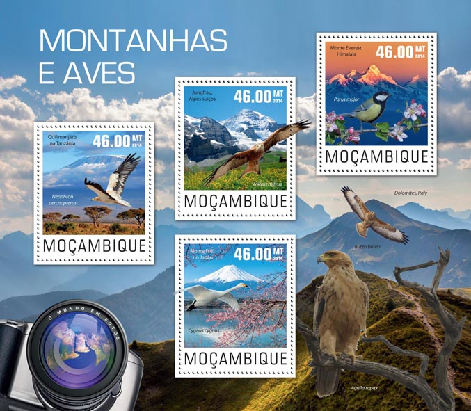 Mountains and birds - Issue of Mozambique postage Stamps