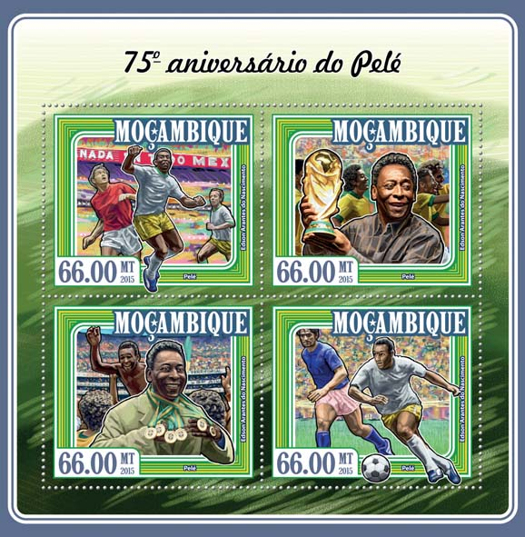 Pelé - Issue of Mozambique postage Stamps