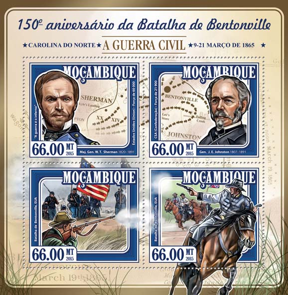Battle of Bentonville - Issue of Mozambique postage Stamps