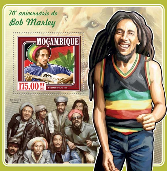 Bob Marley - Issue of Mozambique postage Stamps