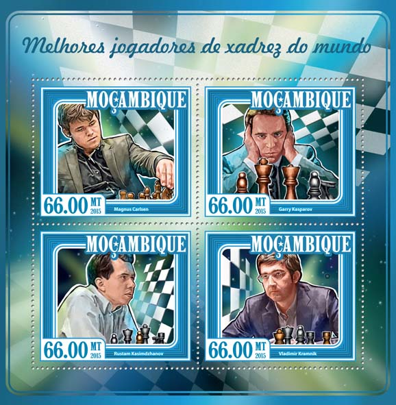 Chess players - Issue of Mozambique postage Stamps