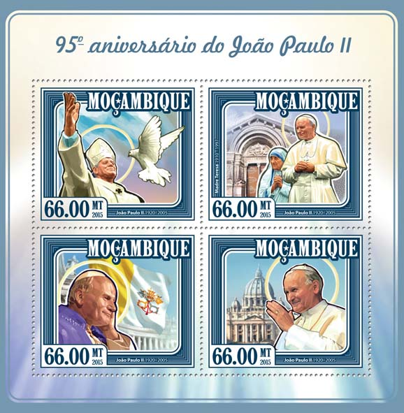 John Paul II - Issue of Mozambique postage Stamps