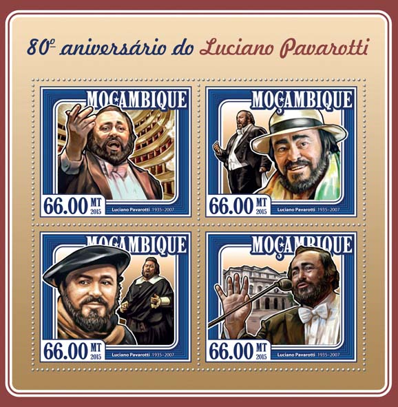 Luciano Pavarotti  - Issue of Mozambique postage Stamps