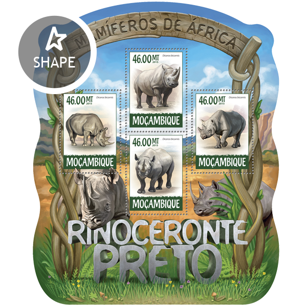 Black Rhinoceros  - Issue of Mozambique postage Stamps