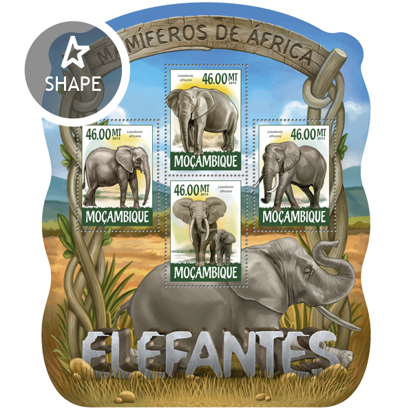 Elephants - Issue of Mozambique postage Stamps