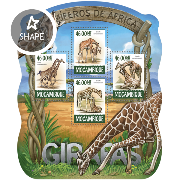 Giraffes - Issue of Mozambique postage Stamps