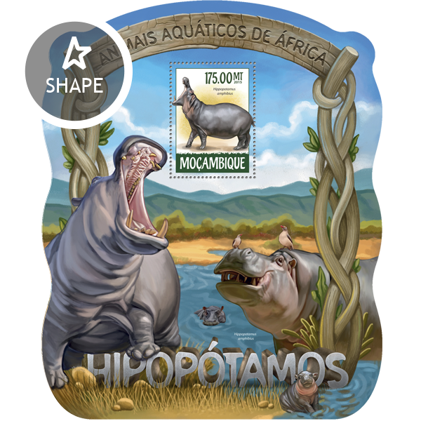 Hippopotamuses - Issue of Mozambique postage Stamps