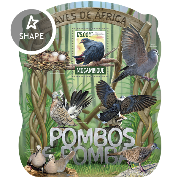 Pigeons and doves - Issue of Mozambique postage Stamps