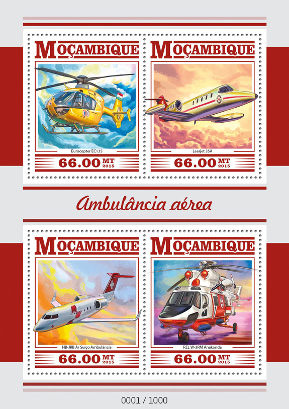 Air ambulance - Issue of Mozambique postage Stamps