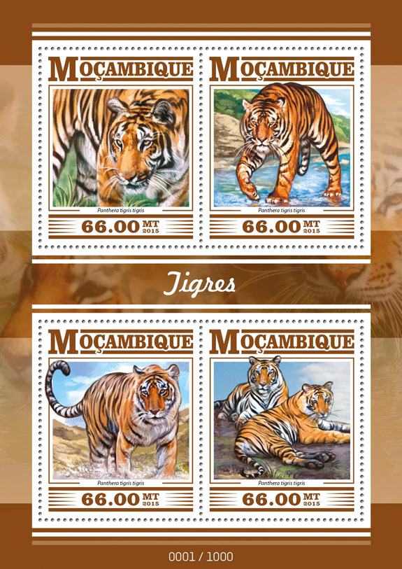 Tigers - Issue of Mozambique postage Stamps