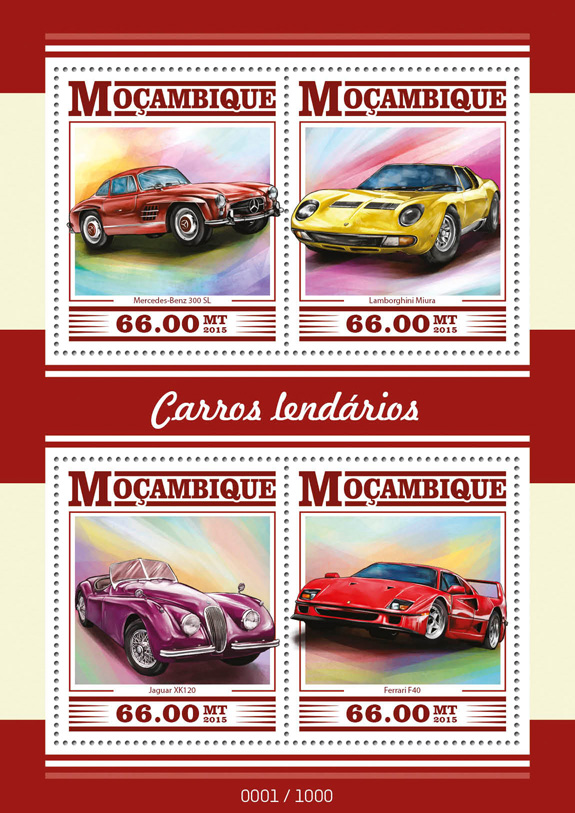 Cars - Issue of Mozambique postage Stamps