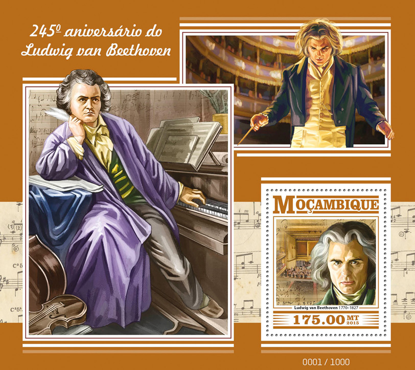 Ludwig van Beethoven - Issue of Mozambique postage Stamps