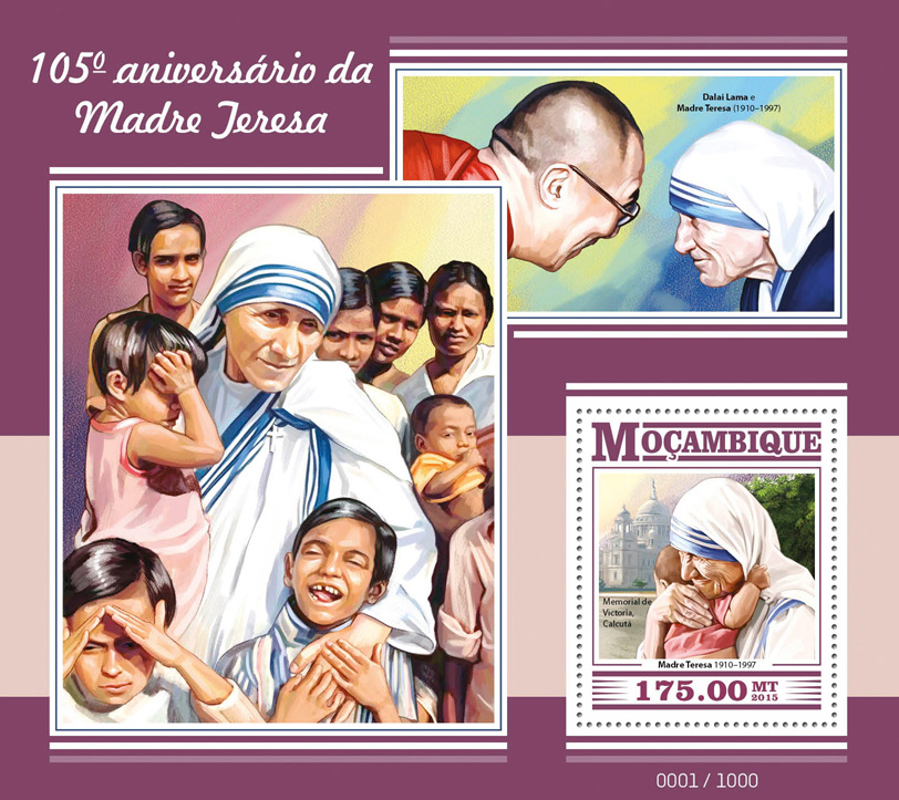 Mother Teresa - Issue of Mozambique postage Stamps