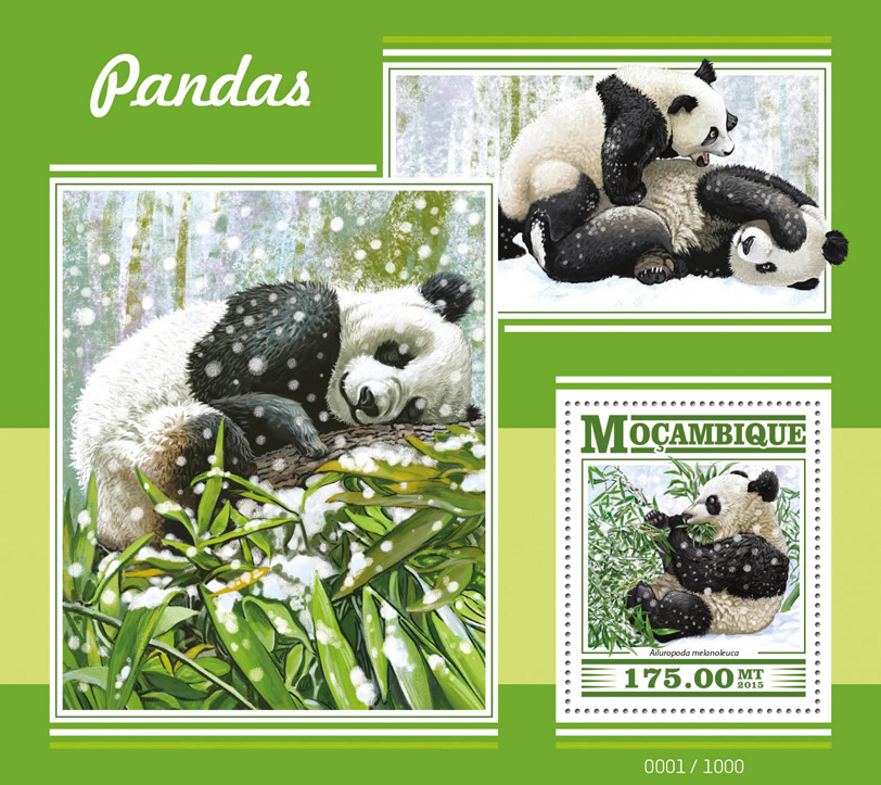 Pandas - Issue of Mozambique postage Stamps
