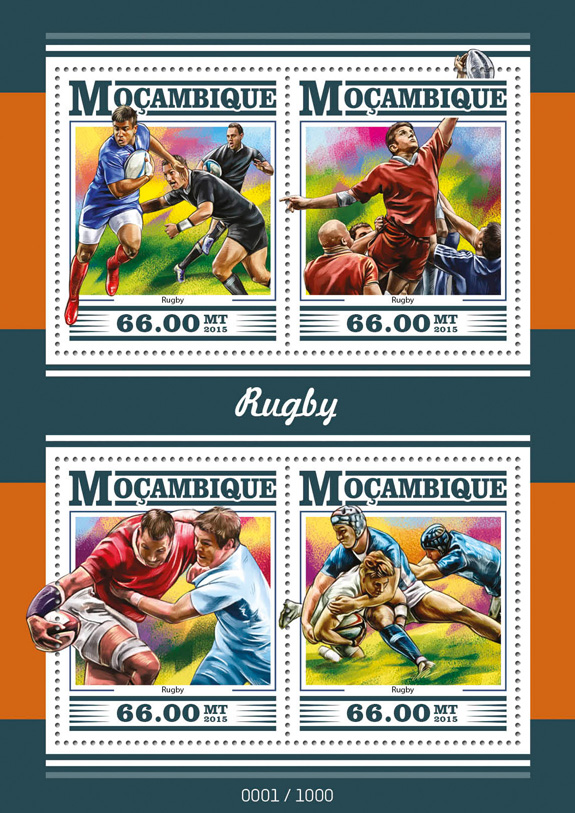 Rugby - Issue of Mozambique postage Stamps