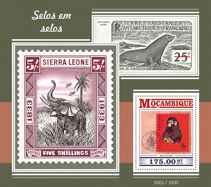 Stamps on stamps - Issue of Mozambique postage Stamps