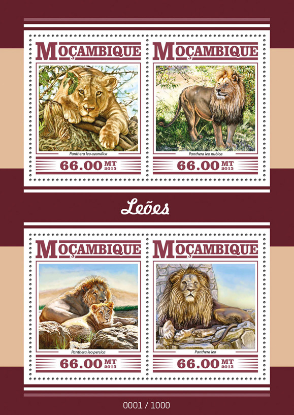 Lions - Issue of Mozambique postage Stamps
