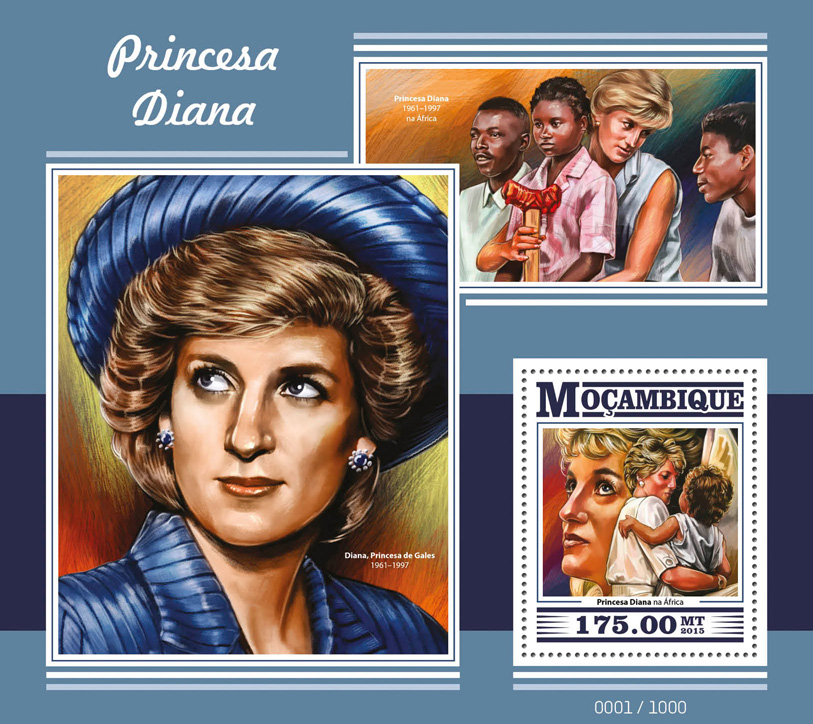 Princess Diana - Issue of Mozambique postage Stamps