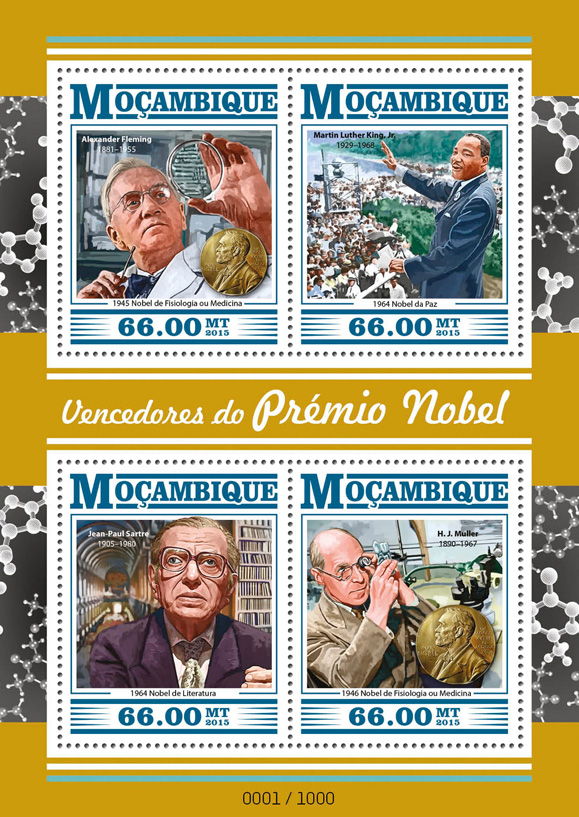 Nobel prize - Issue of Mozambique postage Stamps