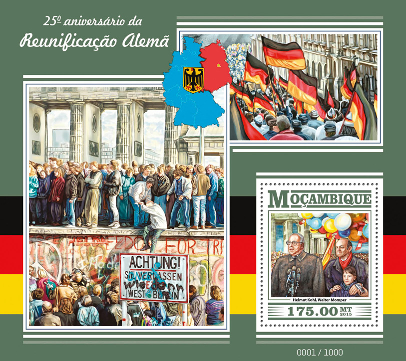 German reunification - Issue of Mozambique postage Stamps