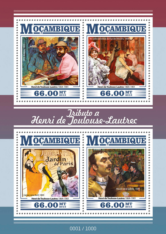 Henri de Toulouse-Lautrec - Issue of Mozambique postage Stamps