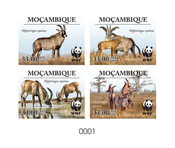 WWF Antelope Hippotragus equinus De Luxe sheet with 4v - Issue of Mozambique postage Stamps
