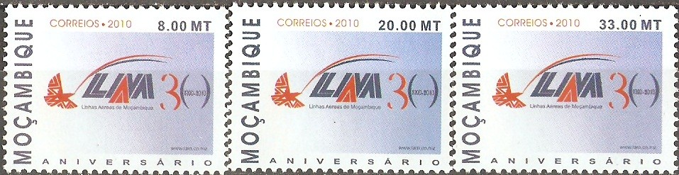30 year Airline LAM Set - Issue of Mozambique postage Stamps