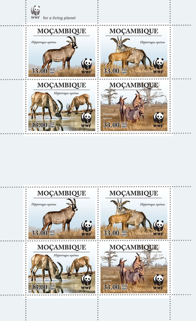 Antelope  Hippotragus equinus 8v - Issue of Mozambique postage Stamps