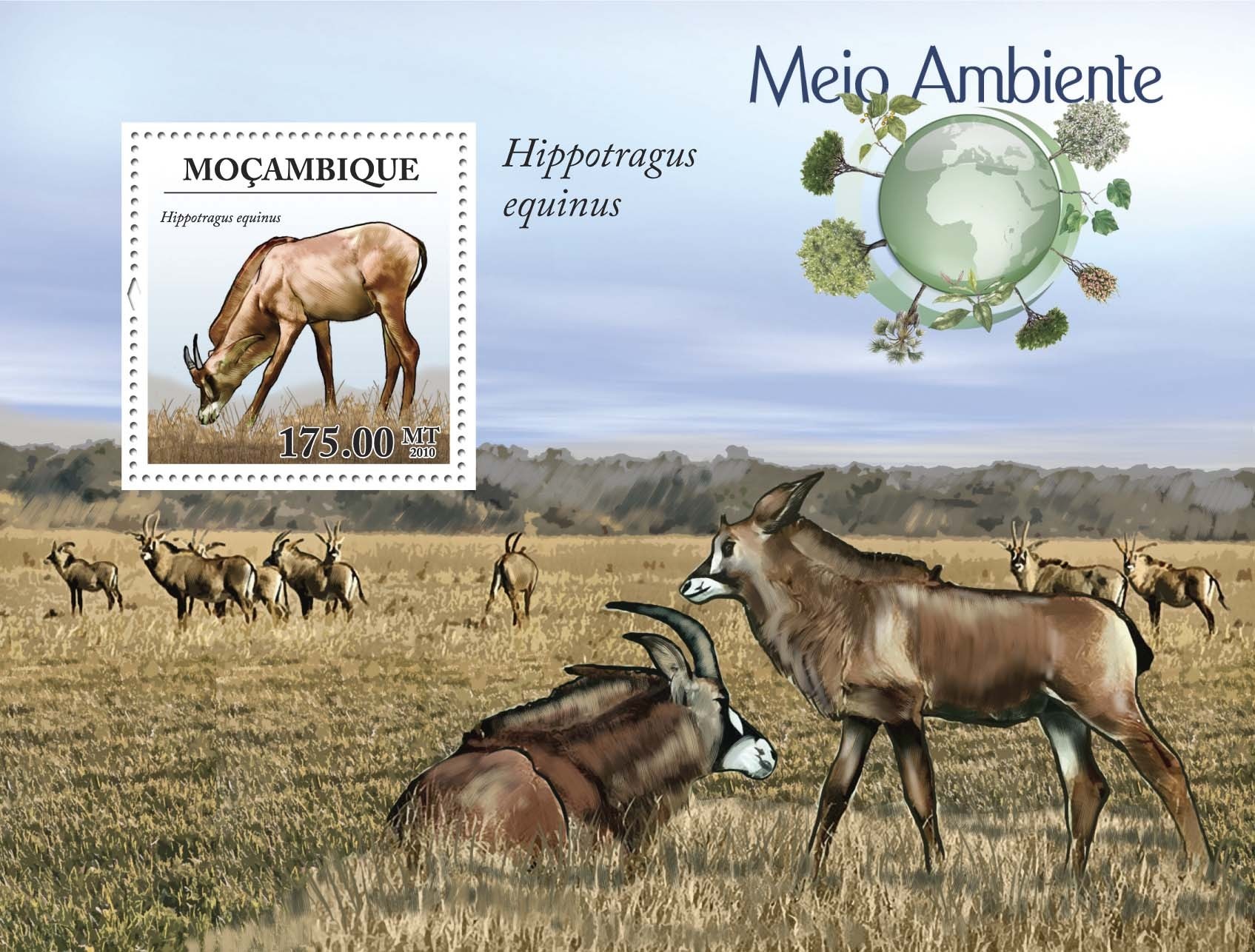 Antelope  Hippotragus equinus s-s - Issue of Mozambique postage Stamps