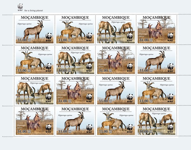 Antelope  Hippotragus equinus 16v - Issue of Mozambique postage Stamps