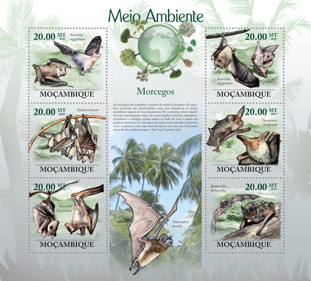 Bats( Rousettus aegyptiacus, Eidolon belvum, Rousettus aegyptiacus, etc..) - Issue of Mozambique postage Stamps